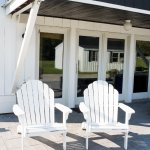 Comfy Adirondack chairs on our patio