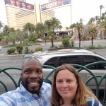 The wife and I outside of the resort