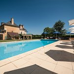 Large heated swimming pool and Manor house