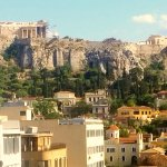 Our view from our balcony in our room! Great location and wonderful view of the Acropolis. Hotel