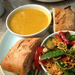 Spiced Butternut squash soup, oriental salad and chargrilled chicken sandwich BRILLIANT