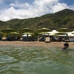 An in-the-water view of the beach umbrella area outside Carambola Beach Club.