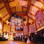 The best location for transitioning from the dining room to the dance floor to dance the night a