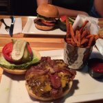 Bacon Cheeseburger w/sweet pot. fries & Windy burger w/cuke side