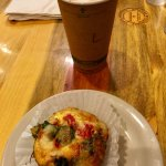 Quiche and latte