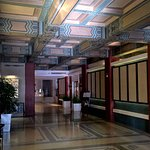 Upstairs hall to elevators - beautiful ceilings