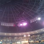 Roof Of Pepsi Center With Achievement Pennants
