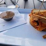 Lunch half pimento cheese sandwhich