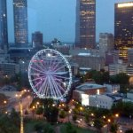 View from the North Tower Corner Room overlooking Centennial Park and large Ferris Wheel