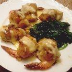 Large stuffed shrimp with Hollandaise Sauce