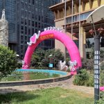 Special decorations outside hotel entrance for weddings