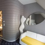 Startrek Junior Suite with City View, sofa (or sleeping couch), Design by Karim Rashid