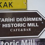 Directional signage to The Old Mill Cafe