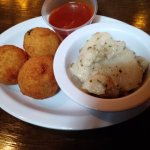 Fried Sauerkraut Balls with potato salad