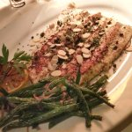 Rainbow Trout sauteed with Roasted Almonds, Capers, Brown Butter, Green Beans