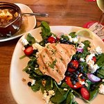 This was the Berry Salad with AMAZING goat cheese topped with chicken and side of French Onion S