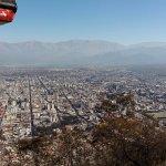 Ciudad de Salta y carrito de teleférico subiendo desde el Cerro San Bernardo. IMPERDIBLE