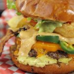 The Bobelle: Cheddar, Jalapeno, Peanut Butter, Bacon, Potato Chips, Avocado Spread, Rst Garlic M