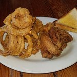 Onion rings and fried chicken