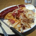 Perogies and sausage, Home Restaurant, Hope, BC