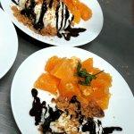 Orange et huil d'olive avec pannacotta al cioccolato