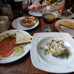 семга собственного соления, баварский салат, чебурек с ыром, бретцель, сырные шарики и мойва