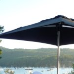 patio with view of Brentwood Bay and yachts