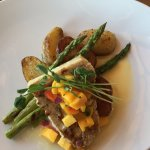 Swordfish, with potatoes and asparagus.