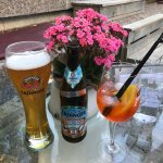 Erdinger beer and a coctail