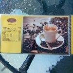 Et bien sûr notre carte des cafés,cappuccinos,chocos et thés
