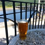 My perfect pint with our bikes in the background on our previous days visit