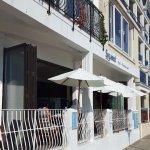 Sea front walkway showing hotels/Resturants