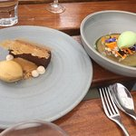 Desserts - the one on the right was elderflower jelly - yum.  The one of the right chocolate