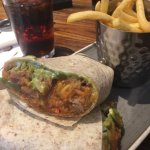 Pulled Pork Burrito and the underneath of the table. Lovely.