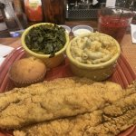 Fish, Greens, Mac and Cheese