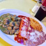 Special of the Day - Chili Verde with pork, cheese enchilada with rice and beans.