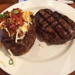 10 ounce sirloin and loaded baked potato.