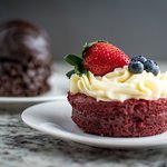 Red velvet cupcake and chocolate bomb