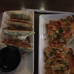 Chicken BBQ flat bread & pot stickers.