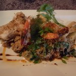 Fish and shrimp with rice feature dish