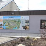 Side view of our visitor centre, with a great illustrated map of Vernon