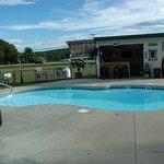 Pool just across parking lot facing road