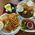 Mahi Mahi wrap, conch fritters, mahi and vegies, Key lime pie