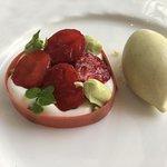 Dessert - candied strawberries, cream + root beer ice cream