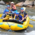The 4 of us and Guide Kimberly at a fun spot in the rapids.