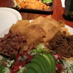 Taco Salad (foreground), Tamales (background)
