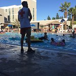 The hotel shares a pool with a family friendly gym that is open to the public and very affordabl