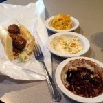Fried meatball Po Boy, red beans, coleslaw and cornbread.