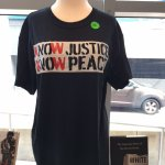 """Tee shirt for """"Know Justice Know Peace"""" special exhibit"""