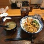 Miso soup and mixed tempura